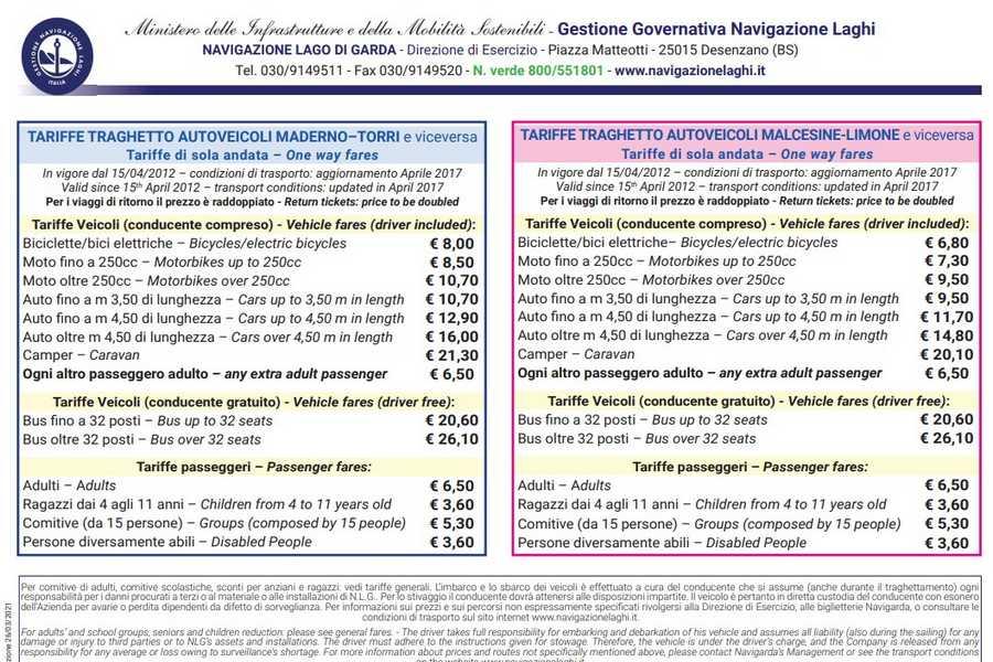 Cliccare per aprire pdf contenente le tariffe dei traghetti in navigazione sul lago di Garda