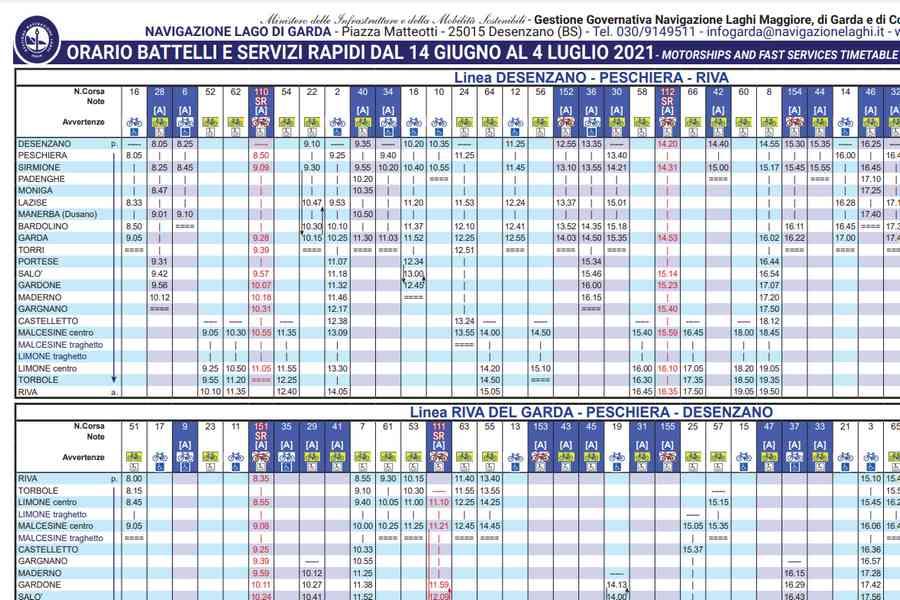 Cliccare per aprire pdf contenente orario dei battelli in navigazione sul lago di garda valido dal 14 giugno al 04 luglio 2021