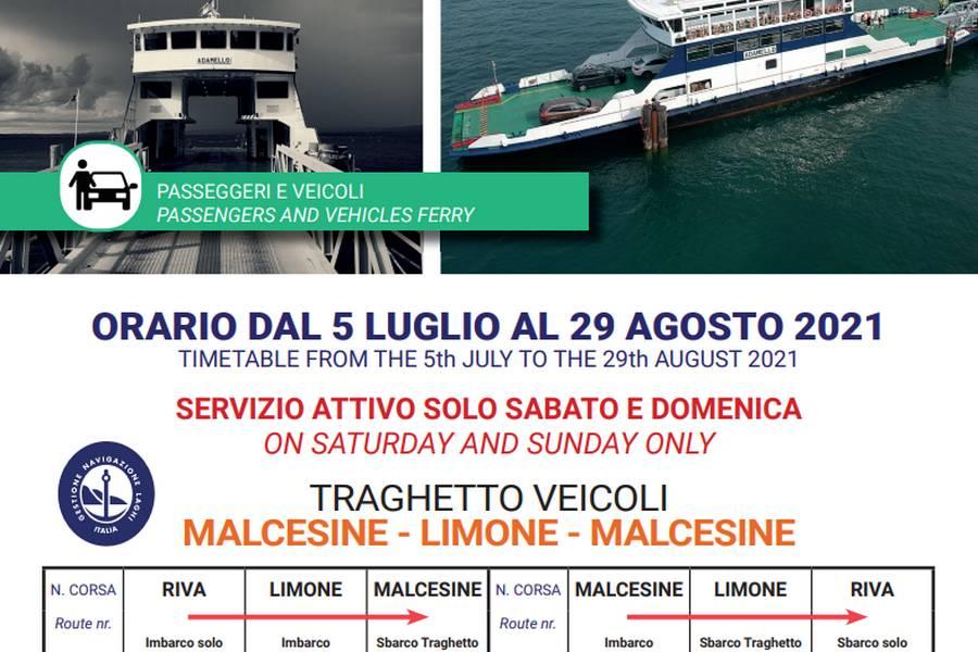 Cliccare per aprire pdf contenente orari del traghetto Limone - Malcesine - Limone valido dal 05 luglio al 29 agosto 2021