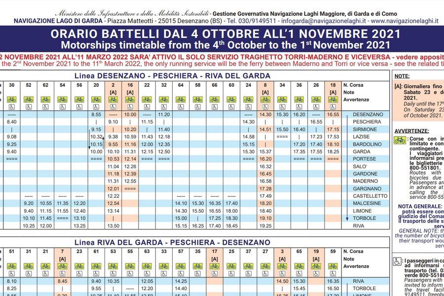 Cliccare per aprire pdf contenente orario dei battelli in navigazione sul lago di Garda valido dal 04 ottobre al 01 novembre 2021