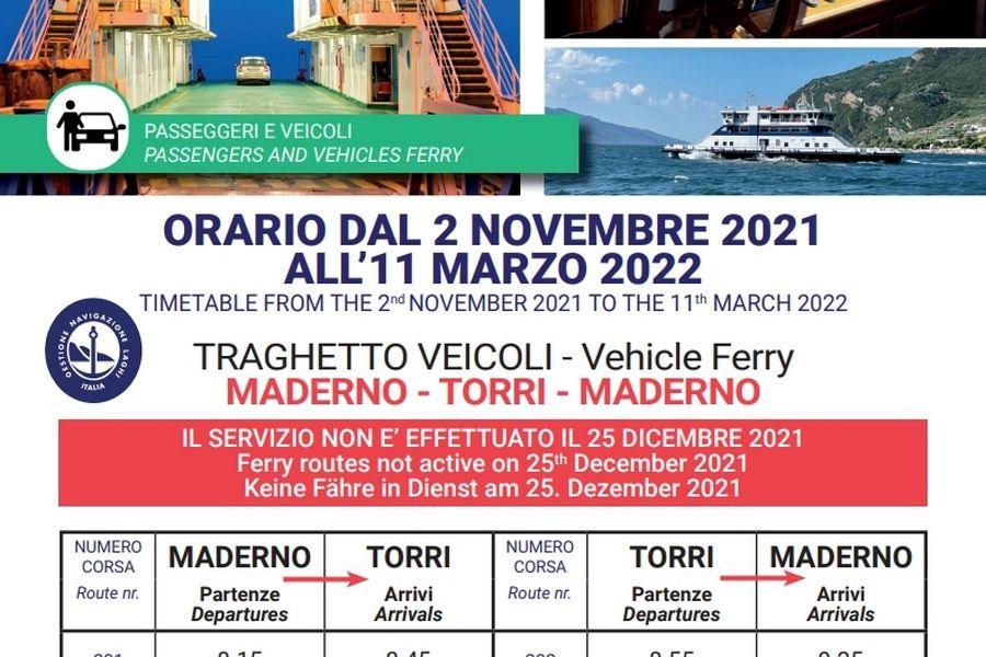 Cliccare per aprire pdf contenente orari del traghetto Maderno-TorridelBenaco-Maderno valido dal 02 novembre al 11 marzo 2022